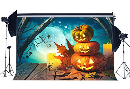 RBabyPhoto Vinyl All Saints' Day Backdrop 7X5FT Halloween Horror Night Photography Wallpaper Scary Pumpkin Lamps Spider Hallowmas Background Kids Adults Masquerade Party Photo Studio Props CK84