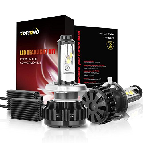 Honda Passport Headlight Assembly (TOPINNO LED Headlight Bulbs Conversion Kit, Extremely Bright CREE (XHP50+XML2) 14000LM, H4 (9003) - 6000K Xenon White Headlight Assembly)