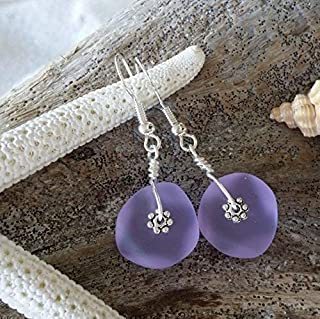 "product image for Handmade in Hawaii,wire wrapped""Magical Color Changing"" purple sea glass earrings, February Birthstone, (Hawaii Gift Wrapped, Customizable Gift Message)"