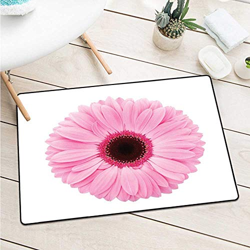 Custom&blanket Pink and White Front Door Mat Carpet Fresh Gerber Daisy Garden Plants of Spring Growth Single Flower Image Door Mat is Odorless and Durable (W15.7 X L23.6 inch,Pale Pink White) ()