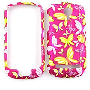 CELL PHONE CASE COVER FOR LG QUANTUM C900 TRANS BUTTERFLIES ON PINK