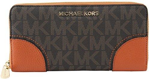 MICHAEL Michael Kors Women's Continental Hattie Brown Tangrne Jet Set Zip Around Wallet, Style 35T7GH0Z3B
