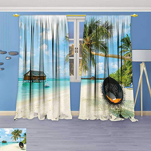 Astoria Crystal Clear (Philiphome Thermal Weaved Blackout Curtain,Exotic Beach in The Maldives with Crystal Waters and Palm Trees on The Room Darkening & Noise Reduction Fabric - Premium Draperies)