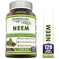 Pure Naturals Neem (Made with Organic Neem Leaf) 500 mg, Veggie Capsules -Supports Digestive Functions* -Supports Skin Health* -Promotes Detoxification of Blood* (120 Count)