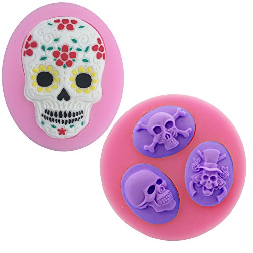 Sugar Skull Silicone Molds Set - MoldFun Skull Mold for Baking Fondant Clay Resin Cakes Candy Chocolate Cookie, Best For Day of The Dead