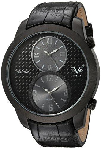 V19.69 Italia Men's Quartz Metal and Leather Casual Watch, Color:Black (Model: 37VM103301A)