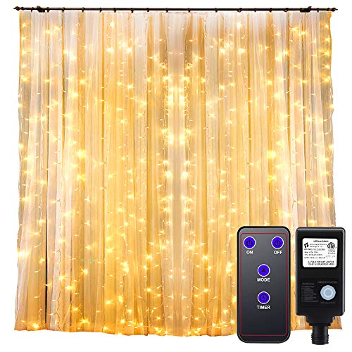 GDEALER 300 Led Window Curtain Lights with Timer, Remote Control String Lights Fairy Lights for Wedding Party Bedroom, 6.6x6.6ft Hanging Lights Twinkle Lights Christmas Lights Wall Decor Warm White -