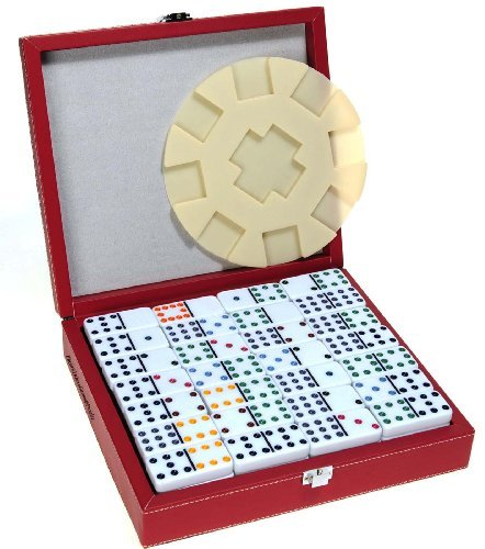 - Deluxe Double 12 Dominoes with Dots in Sturdy Leatherette Case _ Bonus Centerpiece