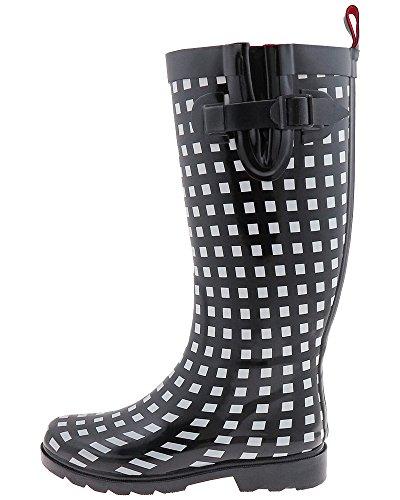 Black Combo Checker Rain Printed Boot Tall Women's New Capelli York q8gvag