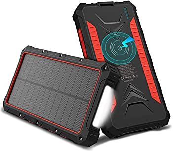 OUTXE 10000mAh Wireless Qi Solar Power Bank Waterproof With Flashlight