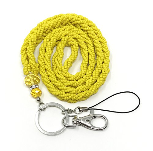 (WigsPedia Braided Colored Mini Seed Bead Lanyard with Jeweled Accents with Keychain Key / Id / Cell Phone Holder (Mustard Yellow))