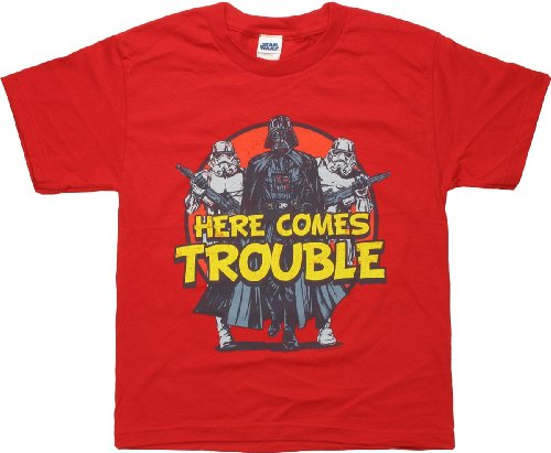 Star Wars Here Comes Trouble Youth T-Shirt Large