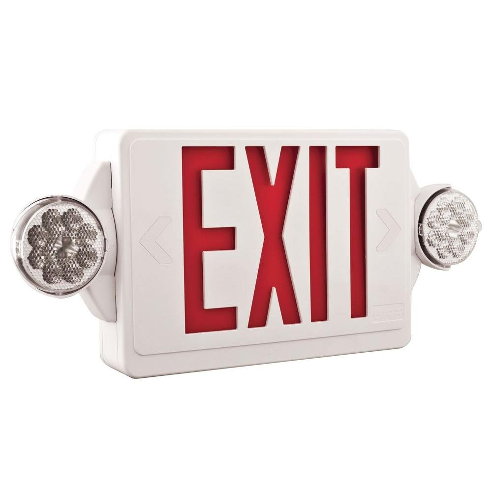 Lithonia Lighting LHQM LED R M6 LED Exit and Emergency Light Combo 2-Head Fixture, Red Letters and Battery Backup