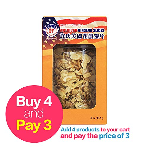 HSU's Ginseng SKU 126MM | Small Mixed Slices | Cultivated Wisconsin American Ginseng Direct from Hsus Ginseng Gardens | 许氏花旗参 | 4oz jar, 西洋参, B071438CBH
