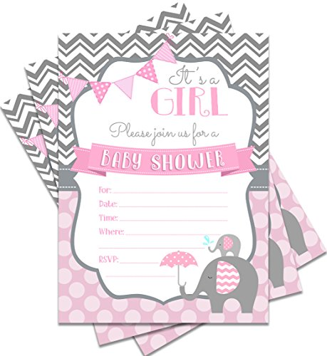 25 Pink Baby Shower Invitations It's a Girl 5x7 Elephant Theme Print with Envelopes -