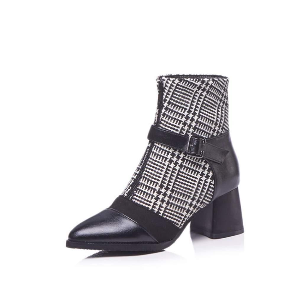 61b613a7fe3 Women s Fashion Pointed Toe Toe Toe Block Chunky Heel Ankle Boots Upper  Zipper Strap Buckle Knight