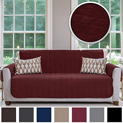 Gorilla Grip Original Velvet Slip Resistant Large Sofa Protector for Seat Width up to 70 Inch, Patent Pending Furniture Slipcover, 2 Inch Straps, Couch Slip Cover Throw for Pets, Dogs, Sofa, Merlot
