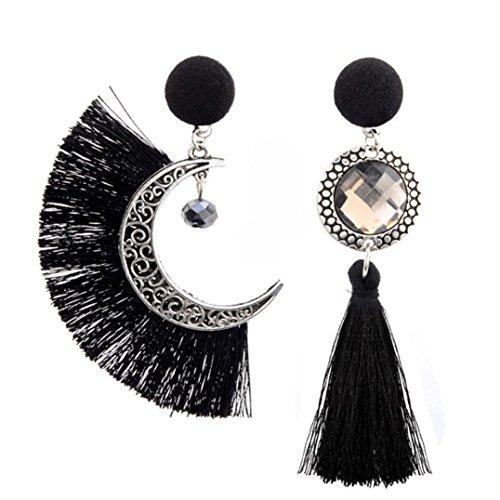 Gioielli Donne Orecchini Gaddrt Cristallo Sole Black Luna Vintage E Red Pendenti Nappe zdcwUTdWq