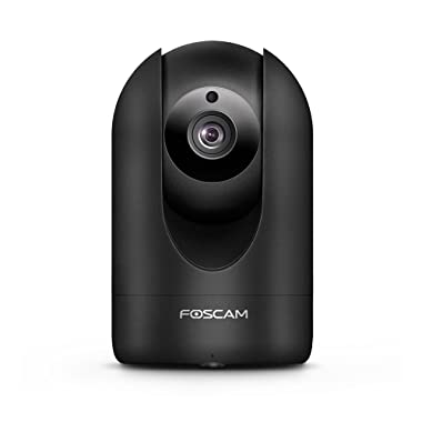 Foscam Home Security Camera, R2 Full HD 1080P WiFi IP Camera with Real-time 1080P Video at 25FPS, Pan Tilt 8X Digital Zoom, Motion Detection & Alert, Optional Cloud Service Available, Rubber Black