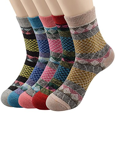 Century Star 5 Pairs Cashmere Wool Full Cushion Womens Crew Dress Socks 5 Pack Grid (Cheap 80s Fancy Dress)