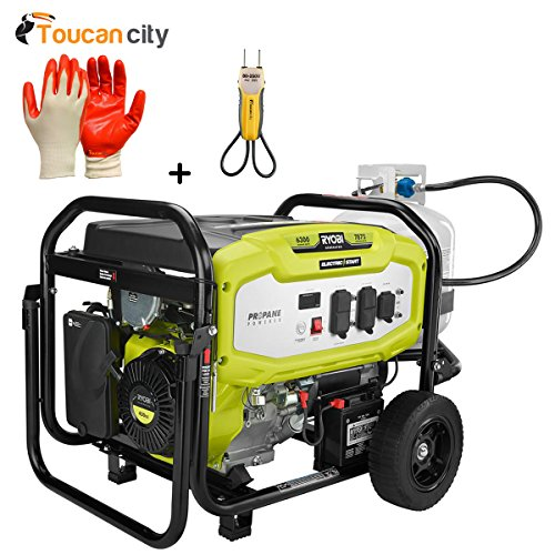 Ryobi 6300-Watt Propane Gas Powered Electric Start Portable Generator RY906300LP and Toucan City Nitrile Dip Gloves(5-Pack) and Voltage-tester For Sale