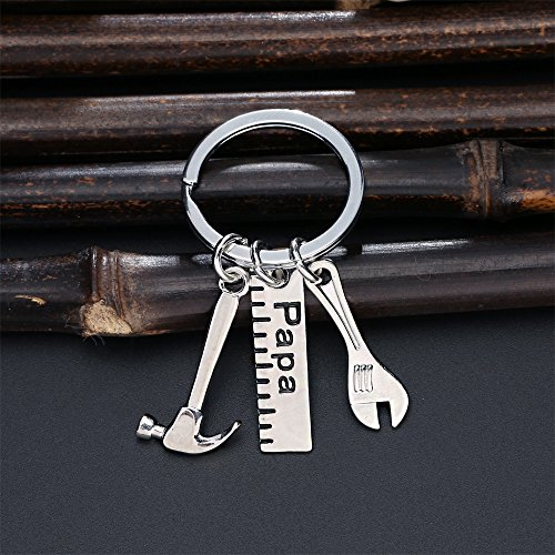 Father Gift Papa Ruler Wrench Hammer Key Chain Ring Tool Charms Pendant My Dad Can Fix Anything for Men Photo #3