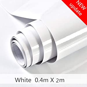 """White Contact Paper Vinyl Contact Paper Self Adhesive Film Decorative Contact Paper Waterproof Stain-Resistant for Kitchen Counter Top Cabinets Wardrobe Furniture (15.8"""" X 78.8"""")"""