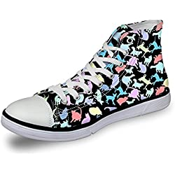 Coloranimal Classic Women High top Canvas Vulcanize Shoes Cat Pattern Outdoor Hiking Flats Sneakers US6