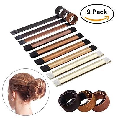Sheevol Beauty Hair Bun Maker, Magic Bun Shaper Donut Hair Styling Making DIY Curler Roller Hairstyle Tools, French Twist Doughnuts Hair Accessories - 9 Pack