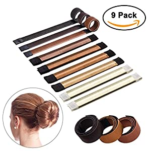 Sheevol Beauty Hair Bun Maker, Magic Bun Shaper Donut Hair Styling Making DIY Curler Roller Hairstyle Tools, French Twist Doughnuts Hair Accessories - 9 Pack