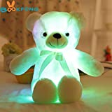 BOOKFONG 50cm Creative Light Up LED Teddy Bear Stuffed Animals Plush Toy Colorful Glowing Teddy Bear Christmas Gift for Kids (White)
