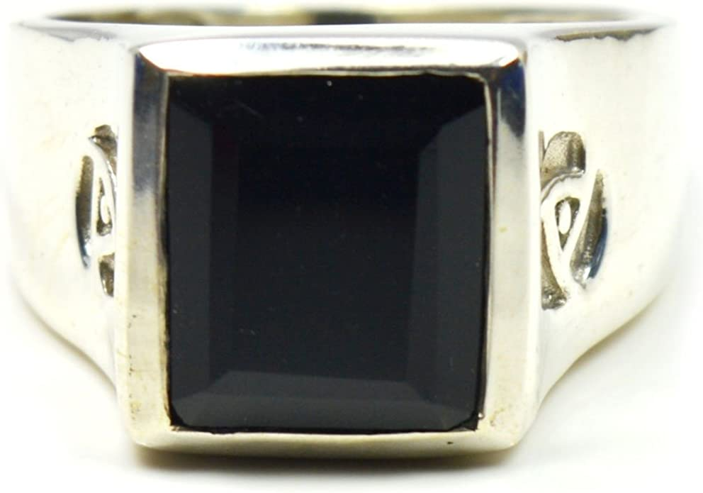 Gemsonclick Natural 925 Silver Handmade Fashionable Jewelry Princess Cut Black Onyx Ring Sizes 4 to 13