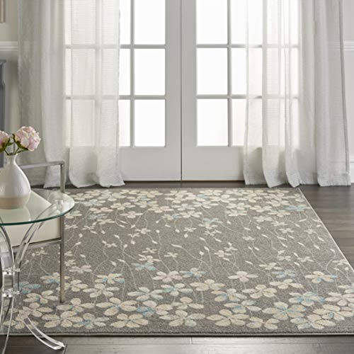 (Nourison TRA04 Tranquil Bohemian Floral Grey/Beige Area Rug 6' X 9')