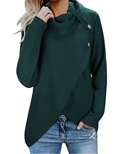 KILIG Womens Long Sleeve Button Cowl Neck Casual Knitted Wrap Pullover Lightweight Sweaters Shirt(Green,S) (Type Of Shoes To Wear With Leggings)