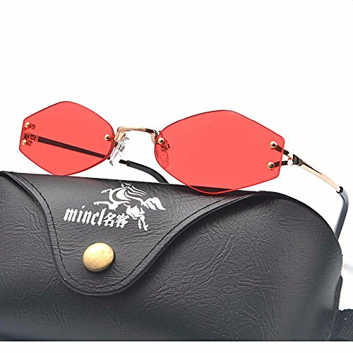 MINCl/Hot Sale Rimless Sunglasses Sexy Chic Small Sunglasses Womens Girls Red Yellow Lens UV400 - Hot Sunglasses Sale