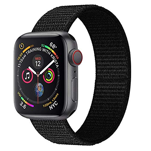 Muzzai Nylon Sport Band Compatible for Apple Watch Bands 38mm 40mm 42mm 44mm, Soft Lightweight Breathable Nylon Loop Replacement Wristband Compatible for Apple Watch iWatch Series 4/3/2/1 (Sports Band Watch)