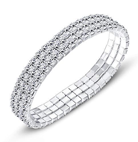 Finrezio Tennis Bracelet Women Bridesmaid Rhinestone Silver Plated Adjustable Bracelets Bangle Jewelry 1-8 Row (3 Rows) ()