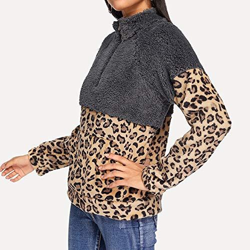 TIREOW Damen Winter Warm Langarm Fleece Sweatshirt Warm Zip Leopard Pullover