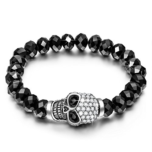 Qianse Punk Skull Stretch Bracelet Made with Austrian Preciosa Crystals, 2016 Halloween Costumes Accessories, Halloween Gifts – ( 8.6 Inches )