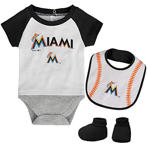 MLB Newborn Baseball Kid Bodysuit, Bib & Booties Set - White (6/9 Months, Miami Marlins) ()