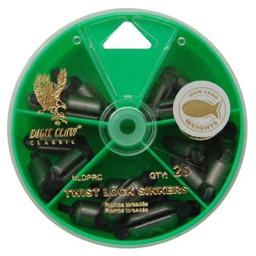 (Eagle Claw Twist Lock Sinkers Silver, 25 Piece)