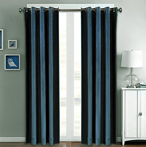 FirstHomer Solid Matt Heavy Velvet Curtain Drape Panel Blackout Super Soft Handfeel Luxury Nickle Grommet Midnight Blue 50Wx84L Inch (Set of 2 Panels)Collection Theater| Bedroom| Living Room| Hotel