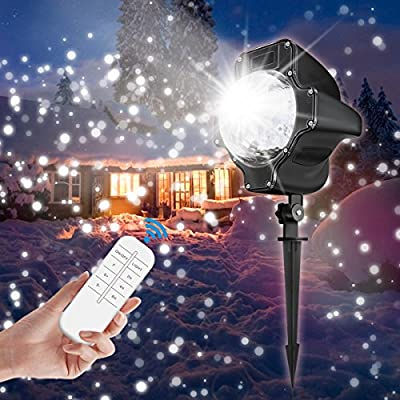 LED Snowfall Light,CAMTOA Christmas Rotating Fairy Snowflake Projector Lamp with Wireless Remote Control,Waterproof Landscape Christmas Projector for Halloween,Christmas Holiday Party Decorations