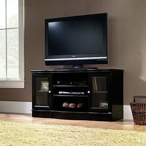 Tv Stand Black For Flat Screens Wood Premium Low Entertainment Center With Cabinets For Up To 50 Inch