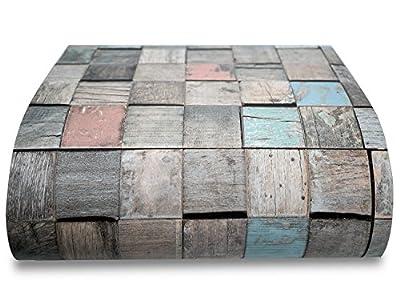 Colored Old Wood Vinyl Floor Film Self Adhesive Flooring Tiles Sticker 12 PCS
