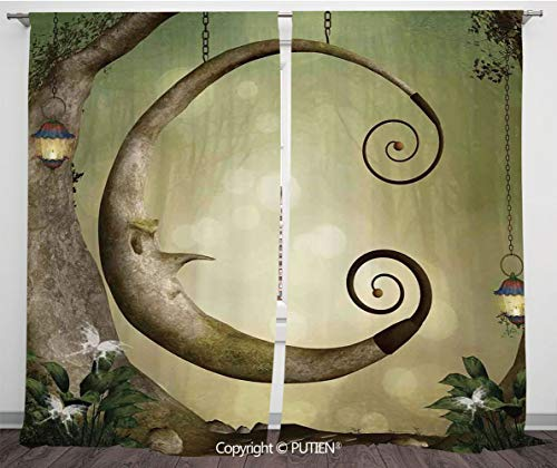 PUTIEN Satin Window Drapes Curtains [ Cartoon,Forest Secret Swing Old Tree Curly Half Moon Shaped Lamps Lights,Khaki Light Brown ] Window Curtain Window Drapes for Living Room Bedroom Dorm Room C