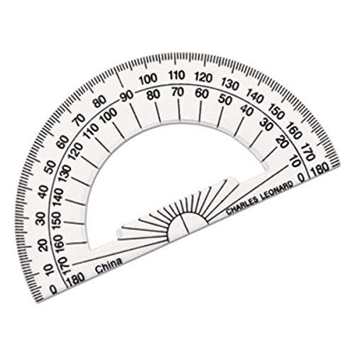 TableTop King 77104 4'' Clear Plastic Open Center Protractor with Ruler Edge - 12/Pack by TableTop King