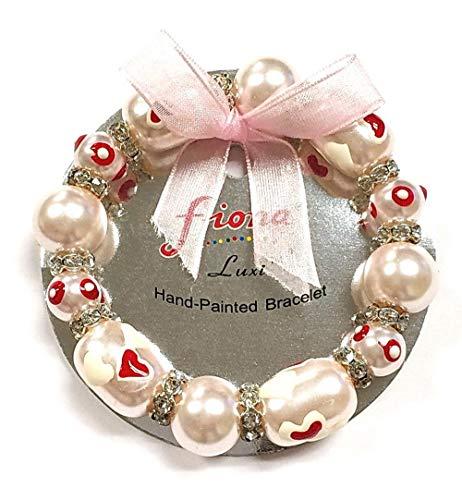 Linpeng Heart Beads Stretch Women Bracelet, Pearl