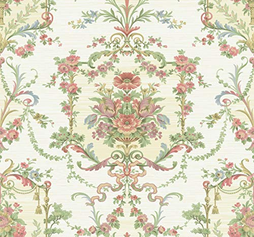 Floral Cameo Wallpaper in White BM60007 from Wallquest