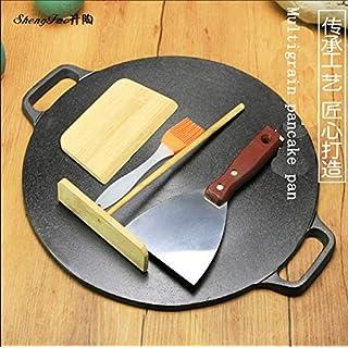 Cast Iron Multigrain Pancake Pan Pancake Pan Stall Pancake Fruit Tool Household Pan Uncoated Pan,34cmmultigrainpancakepotsendfourpieceset+hemprope
